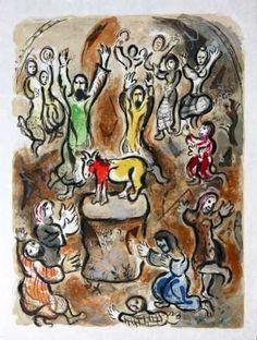 Marc Chagall, exodus suite golden calf -1966 on ArtStack #marc-chagall #art