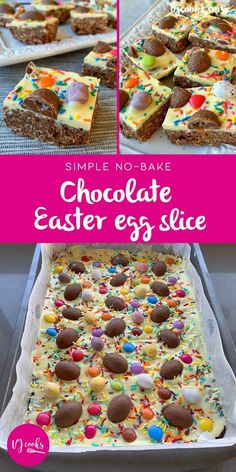 No-bake chocolate Easter egg slice – VJ Cooks vj cooks no-bake easter egg slice Related posts:How To Make Scrunchies - AppleGreen CottageHandprint Flower Bouquet - The Best Ideas for KidsPop Up Box eine schöne. No Bake Slices, Baking Recipes, Dessert Recipes, No Bake Recipes, Desserts Ostern, Easter Treats, Easter Food, Easter Baking Ideas, Easter Egg Cake