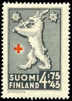 Postage stamp depicting the coat-of-arms symbols of the Satakunta province of Finland