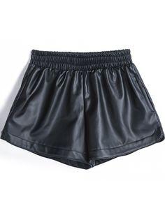 Black Elastic Waist PU Leather Shorts 9.90
