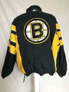 Starter Boston Bruins Pullover Coat Jacket XL NHL Hockey Nylon Yellow Black #Starter #BostonBruins