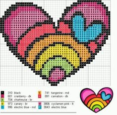 Rainbow Heart Love perler bead pattern