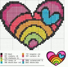 Rainbow Heart Love perler bead pattern