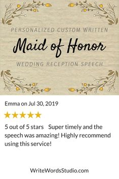 Custom Maid of Honor Speech - Personalized Bridesmaid / Matron of Honor Wedding Reception Toast Maid Of Honor Toast, Maid Of Honor Speech, Matron Of Honour, Bridesmaid Speeches, Wedding Toasts, Custom Writing, Wedding Reception Decorations, Wedding Ideas, Getting To Know You