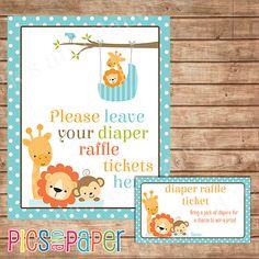Diaper Raffle Tickets Safari Jungle Animals Baby By PicsandPaper