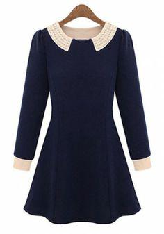 Dark Blue Ruffle Pearl Lapel Knitting Velvet Dress