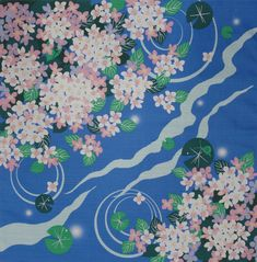 Furoshiki Wrapping Cloth Japanese Cotton Lily Pads & Pink Hydrangea Fabric 50cm | eBay