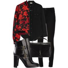 Untitled #1863 by mariandradde on Polyvore featuring Yves Saint Laurent, Alice + Olivia, J Brand and Alexander McQueen