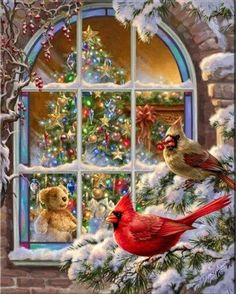 Find images and videos about winter, christmas and cardinals on We Heart It - the app to get lost in what you love. Old Christmas, Vintage Christmas Cards, Christmas Pictures, Christmas Holidays, Christmas Decorations, Christmas Morning, Vintage Cards, Christmas 2019, Christmas Classics