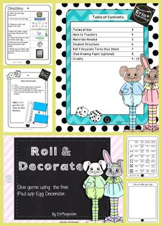 Roll & Decorate - my newest iPad integration activities for center work especially made for K-2 (and even 3rd graders could do it for fun!). Students will roll and follow directions to decorate an egg on the free app Egg Decorator. Follow my store to see new products added to the Roll & Decorate line!