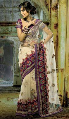 Cream #Net Indian Wedding #Stylish Saree