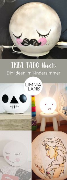 IKEA FADO Hack - Eine Lampe mit vielen Gesichtern We show you the most beautiful IKEA hacks with the FADO lamp for the children's room. Moon, Miffy, Sleepy Eyes to horror lamp - there is the right IKEA FADO hack for every taste ;