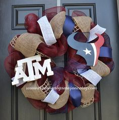 Hey, I found this really awesome Etsy listing at https://www.etsy.com/listing/163437955/house-divided-wreath-texas-am-and-texans