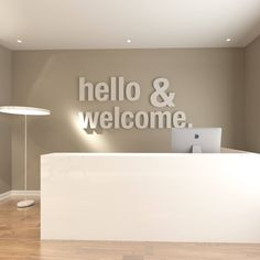 Hello & Welcome Office Design Apply this Hello & Welcome Office Design in any flat surface (walls, windows, etc). Dental Office Design, Office Interior Design, Office Interiors, Home Interior, Office Designs, Office Wall Decor, Office Walls, Medical Office Decor, Office Art