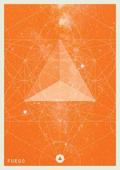 Série d'affiches représentant les 4 éléments (la terre, l'eau, le feu, et l'air) par Juan Manuel Yañez.