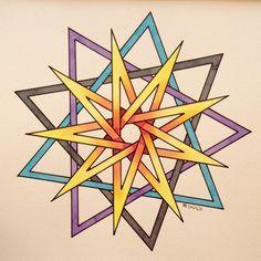 #regolo54 #fractal #geometry #symmetry #pattern #watercolor #aquarelle #handmade #rainbow #mathart #light #structure #mandala #fibonacci #1123581321345589