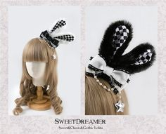 Sweet Dreamer~The March Hare~ Rabbit Ear Shaped Lolita Hairclip Harajuku Fashion, Kawaii Fashion, Lolita Fashion, Cute Fashion, Barbie Dolls Diy, Diy Doll, Sylveon Cosplay, Brolita, Kawaii Diy