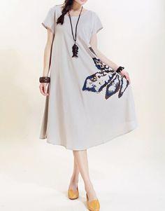 Women linen long sundress beige linen long dress by MaLieb on Etsy