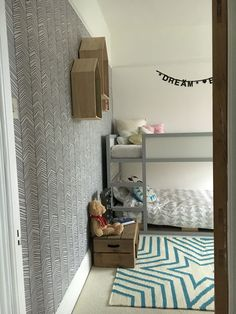 IKEA Loving the wallpaper Kids Bedroom Designs, Kids Room Design, Bedroom Ideas, Ikea Bunk Bed Hack, Kura Hack, Big Girl Rooms, Baby Boy Rooms, Ikea Kids Room, Kid Bedrooms