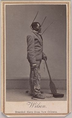 """On January 30, 1864, to fan the anti-slavery cause and promote the sale of abolitionist photographs, Harper's Weekly published this carte de visite and three others as wood engravings. The newspaper also included stirring bibliographies of the emancipated slaves.  Wilson Chinn was about sixty years old. His former master, Volsey B. Marmillion, a sugar planter near New Orleans, """"was accustomed to brand his negroes, and Wilson has on his forehead the letters 'V.B.M.'"""""""