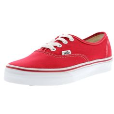 - Canvas upper in red - Low cut construction - Double stitched on vamp with lace up closure - Soft interior lining - Double stitched on vamp - Vans logo detailing - Vulcanized sole attachment with gum