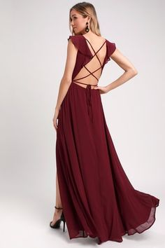 9d79e6ff7ebf Feel the Rush Burgundy Ruffled Lace-Up Backless Maxi Dress Maxi Skirt Fall,  Flowy