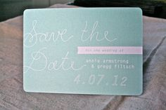 Vintage Sea Green Save the Date Postcard