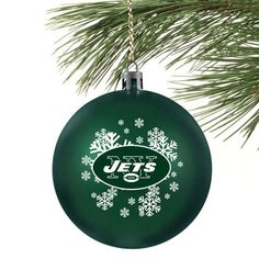 New York Jets Green Shatter-Proof Snowflake Ball Ornament - $6.99