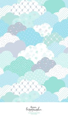 Geometric scandinavian patchwork clouds - surface pattern design for children in blue and mint color palette. Geometric scandinavian patchwork clouds - surface pattern design for children in blue and mint color palette. Baby Wallpaper, Pastel Wallpaper, Wallpaper Iphone Cute, Cute Wallpapers, Pastel Pattern, Pattern Paper, Abstract Pattern, Mint Color Palettes, Blue Colour Palette