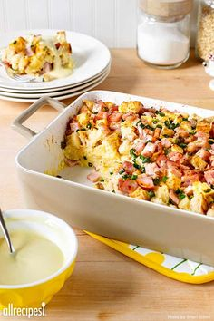 "Eggs Benedict Casserole | ""We had this on Christmas Morning. I didn't have Canadian Bacon, so I just used ham leftover from a spiral cut honey ham. Everyone loved it; it's our new Christmas Morning Breakfast Casserole."""