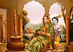 Krishna and Yashoda Radha Krishna Images, Radha Krishna Love, Krishna Pictures, Hare Krishna, Story Of Krishna, Yashoda Krishna, Circle Canvas, Bhagavata Purana, Krishna Painting