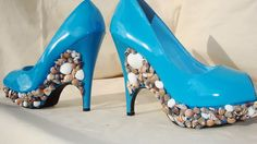 ocean blue and sea shell embellished size 10 by Tat2Tina on Etsy, $280.00