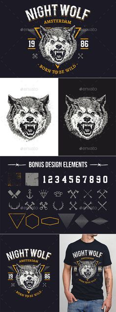Night Wolf — JPG Image #vector #wild • Available here → https://graphicriver.net/item/night-wolf/9527860?ref=pxcr