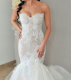 Lace sweet heart trumpet bridal gown