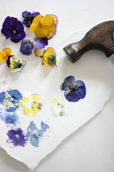 pressed flower markings with a hammer, flowers and watercolor paper or cardstock.