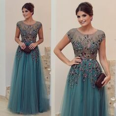 Ruched Transparent Colorful Short Sleeve Tulle A Line Plus Size Mother of the Bride Dresses Wedding Party Evening Gowns Hunter Green Formal Green Evening Dress, Lace Evening Dresses, Evening Gowns, Applique Dress, Embroidery Dress, Beaded Embroidery, Cheap Prom Dresses, Formal Dresses, Formal Prom