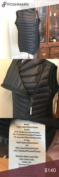 {Calvin Klein} Down-filled asymmetrical coat NWT. Create a bold, sleek winter style with this quilted walker coat from Calvin Klein. Size 2X. Polyester / nylon Down filling Shawl collar Long, knit sleeves Asymmetrical zip front Quilted bodice Two zip pockets Imported Calvin Klein Jackets & Coats Puffers