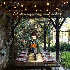 bulbs like stars with a central light fixture for al fresco dining