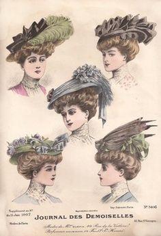 Fashionable Hats - Journal des Demoiselles - June 1907