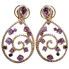 Amethyst Diamond Pink Gold Curve Clip-on Earrings | From a unique collection of vintage chandelier earrings at https://www.1stdibs.com/jewelry/earrings/chandelier-earrings/
