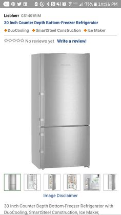 Bottom Freezer Refrigerator, Counter Depth, Cgi
