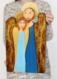 Personalized angel for him & her, unique gift ideas, angel painted on wood Wooden Angel, Painting On Wood, Unique Gifts, Angels, Gift Ideas, Couples, Original Gifts, Romantic Couples, Angel