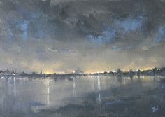 ARTFINDER: Nocturne:Reflections by Dan Wellington - No.1 of three nocturnes capturing the glow of the lights and reflections as they stream across the water. Capturing how the colours and moods change  as the ...