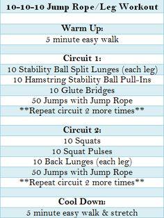 jump rope/leg workout circuit