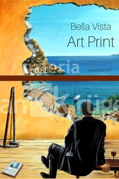 The surrealistic art print with the impressive view makes you want to vacation, rest and relaxation! You can enjoy this view every day anew - and it never gets boring. #surrealism #artprint Beautiful Islands, Beautiful Places, Mallorca Island, Bull Painting, Rest And Relaxation, Grey Skies, Surrealism, Fantasy, Vacation