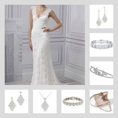 The top two I like best!  ~♥The gorgeous Miles earrings♥~, ~♥Silverwin bracelet♥~, Emily headband, Jackie clutch, Masterson bracelet, Adkins necklace and Adkins earrings with Monique Lhuillier bridal gown. Save 10% using promo code: pinterest2013 at adorn.com ... Bridal accessories, wedding day jewelry, diamond chandelier earrings, swarovski crystal clutch