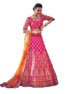 EthnicWear Silk Best Selling Designer Hot Pink Reception Bridal Wear Pakistani Lehenga Choli. Style: A - Line Lehenga , Occasion: Bridal, Reception, Wedding. Fabric: Raw Silk, Color: Hot Pink. Work:Embroidery, Patch Border Work, Moti. Blouse is attached to the lehenga and is an Unstitched Blouse Piece. Customer will have to seperate the Unstitched Blouse Piece & the lehenga by themselves Stitching service is not provided. We have not authorised any other seller to sell our brand…