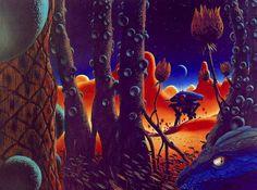 "thevaultofretroscifi: "" Chris Moore, First Contact "" Cool Pixel Art, Sci Fi City, 70s Sci Fi Art, Science Fiction Art, Environment Concept Art, First Contact, Retro Futurism, Decoration, Cover Art"