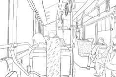Bus, ©augenpause/aichhorn Perspective Drawing, Pause, Coloring, Digital Art, Floor Plans, Diagram, Design, Drawing Hands, Graphics