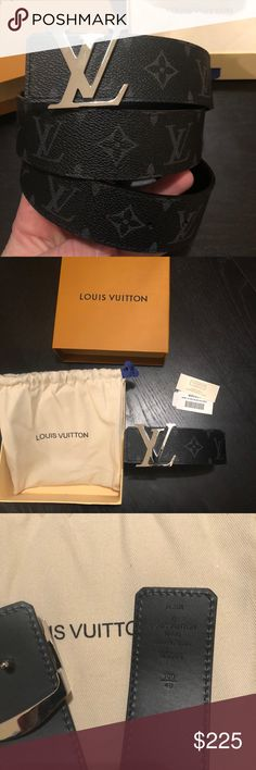 Men's LV Monogram Eclipse Black LV Belt 100% Real and Authentic Louis Vuitton 40 MM Initials Belt in Monogram Eclipse Black  . I have 2 belts available. both size 36 US waist belt (100/40 stamp) The belt will come with the original box, dust bag with blue ribbon and , tags. All my products are Real and verified at LV store. I Ship same day 2-3 day Priority! Louis Vuitton Accessories Belts